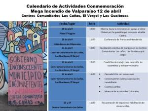 Calendario de Actividades Conmemoración incendio de Valparaíso